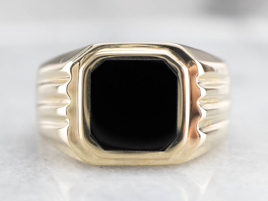 Retro Black Onyx Gold Men's Statement Ring