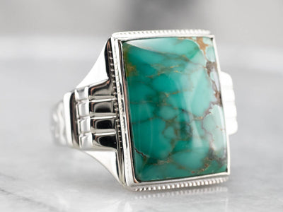 Vintage Turquoise White Gold Statement Ring