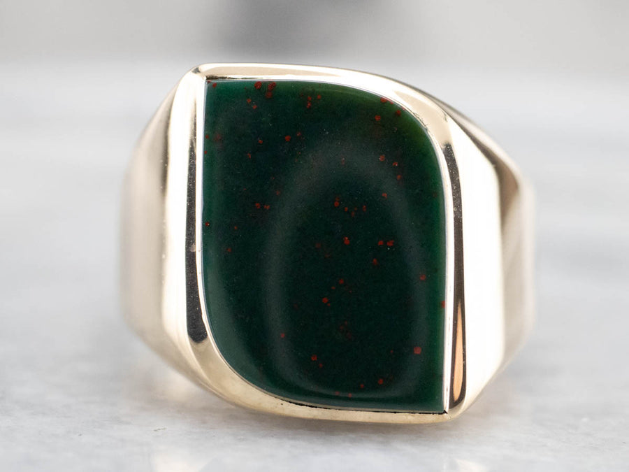 Modernist Bloodstone Gold Men's Statement Ring