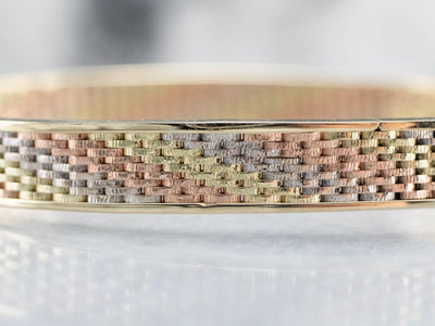 Multi Colored Gold Patterned Bangle Bracelet