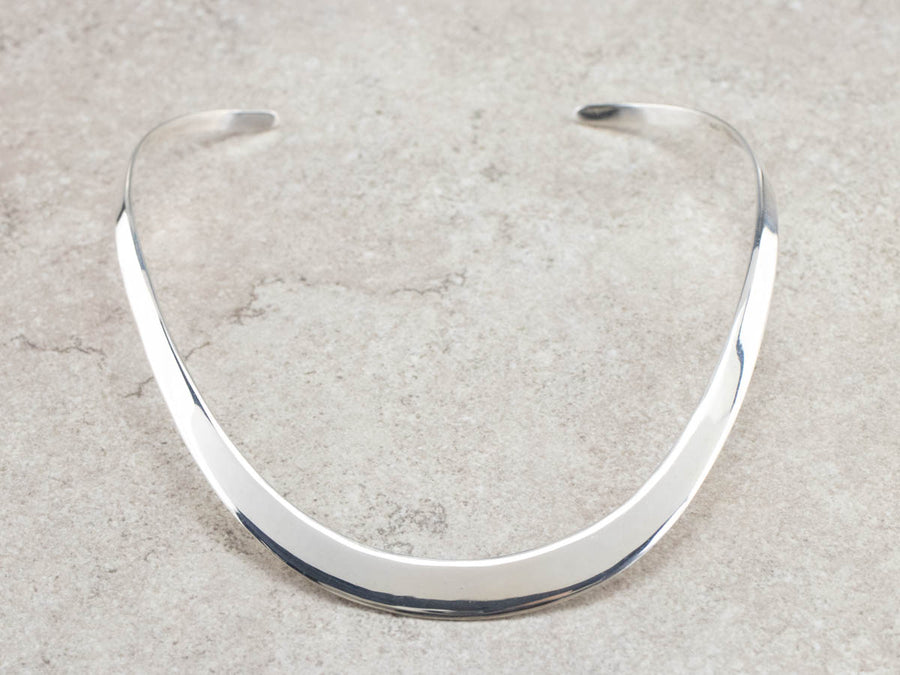 Flat Tapering Sterling Silver Collar Necklace