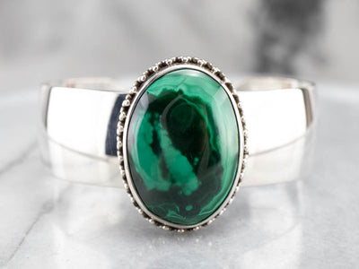 Malachite Sterling Silver Cuff Statement Bracelet