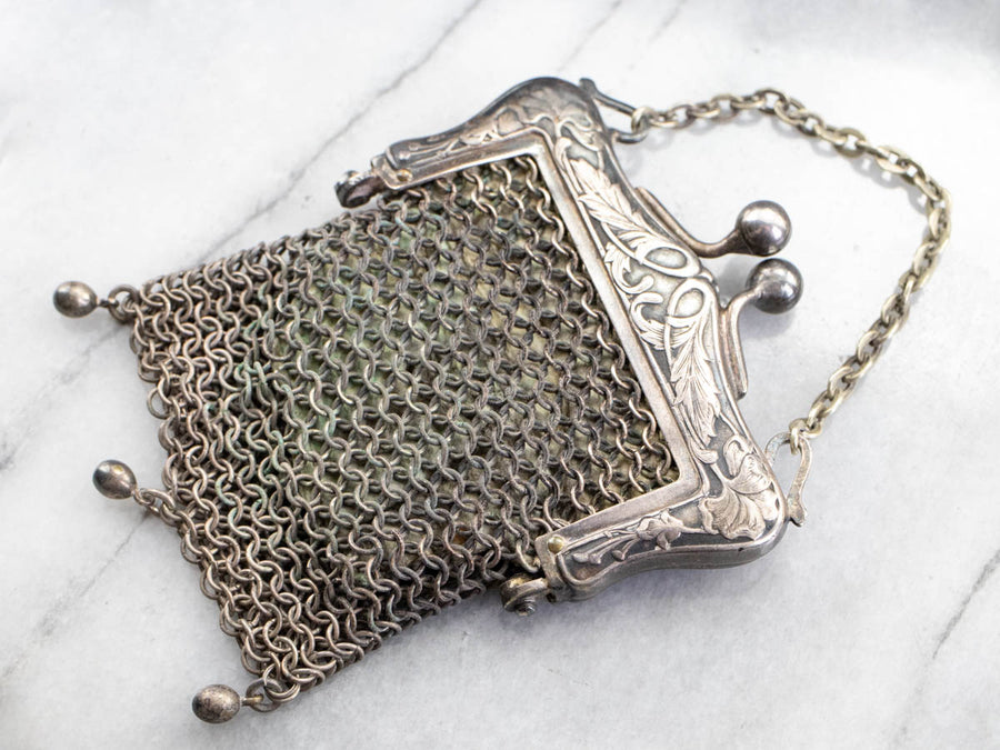 Antique German Silver Mesh Coin Purse