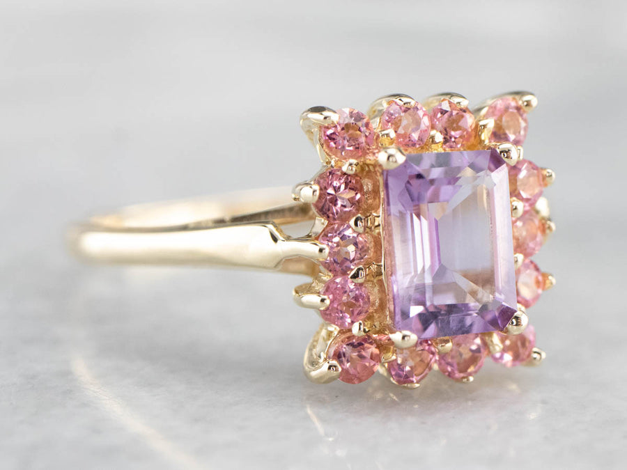 Amethyst and Pink Sapphire Halo Ring