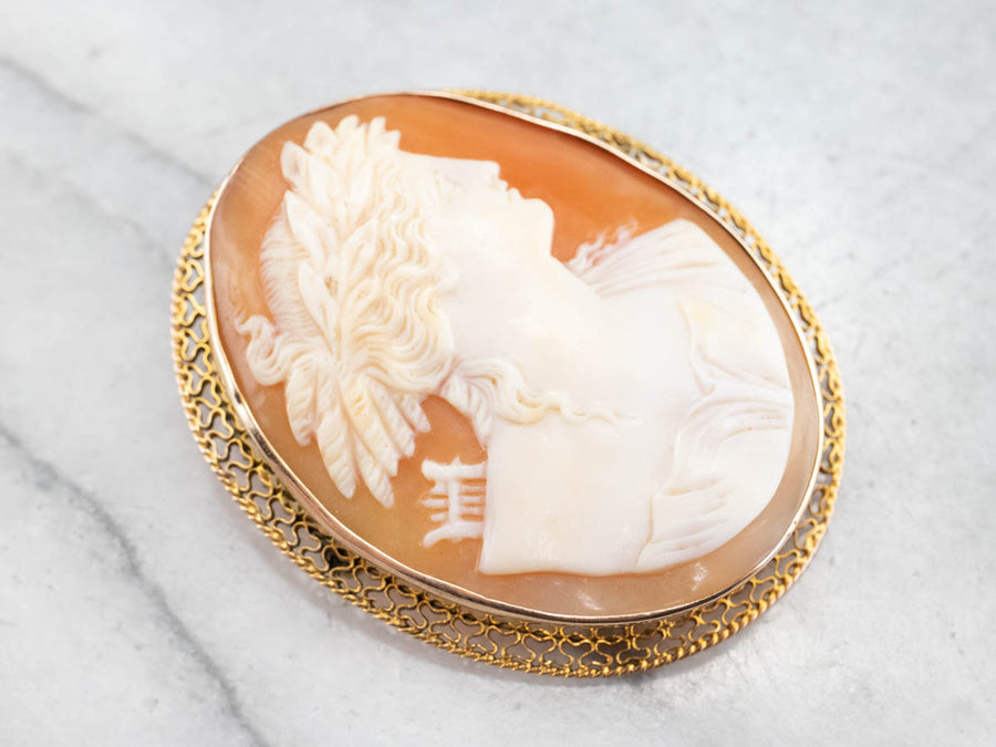 Gold Greek God Apollo Cameo Brooch