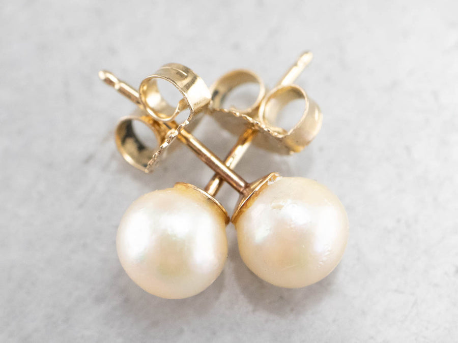 Classic White Pearl Gold Stud Earrings