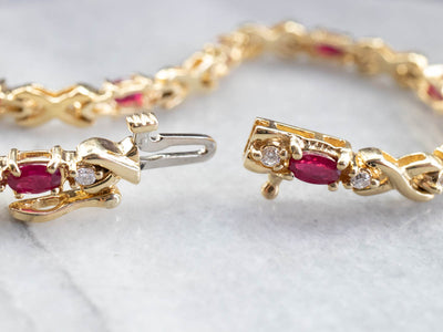 Synthetic Ruby and Diamond Tennis Bracelet