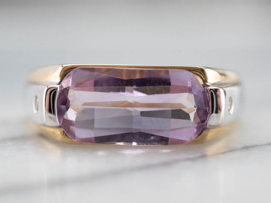Two Tone Gold Fancy Cut Amethyst Ring