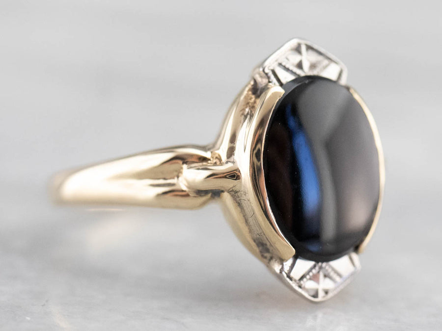 Black Onyx 1940s Ladies Two Tone Gold Ring