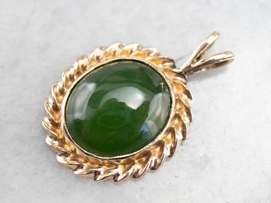 Yellow Gold Jade Gemstone Pendant