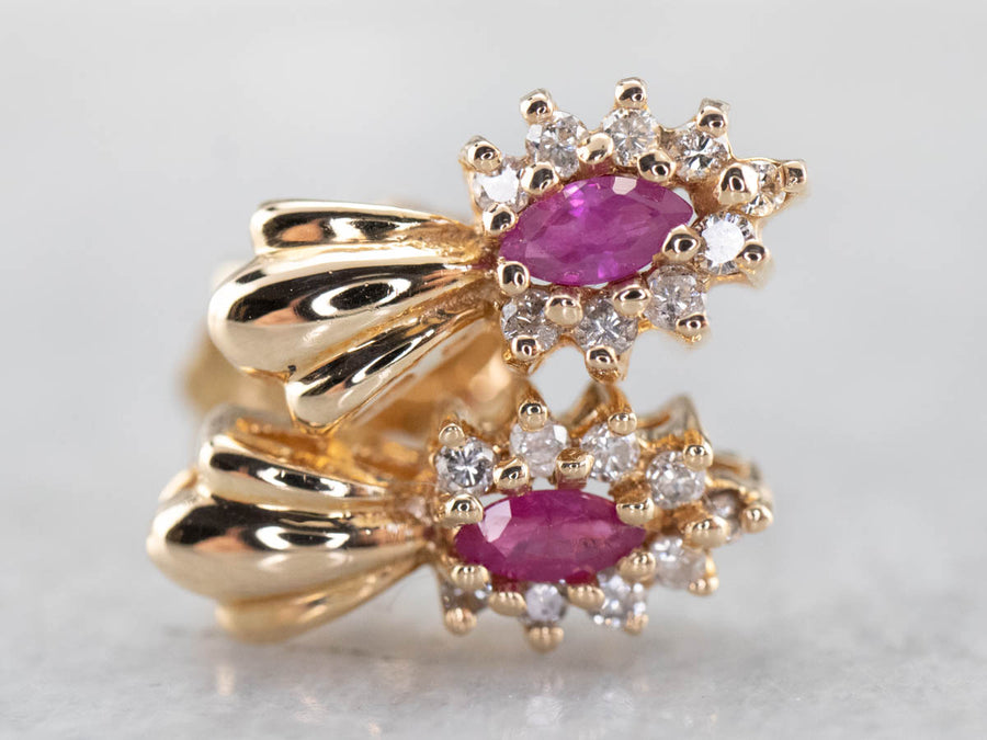 Pink Sapphire Diamond Halo Gold Stud Earrings