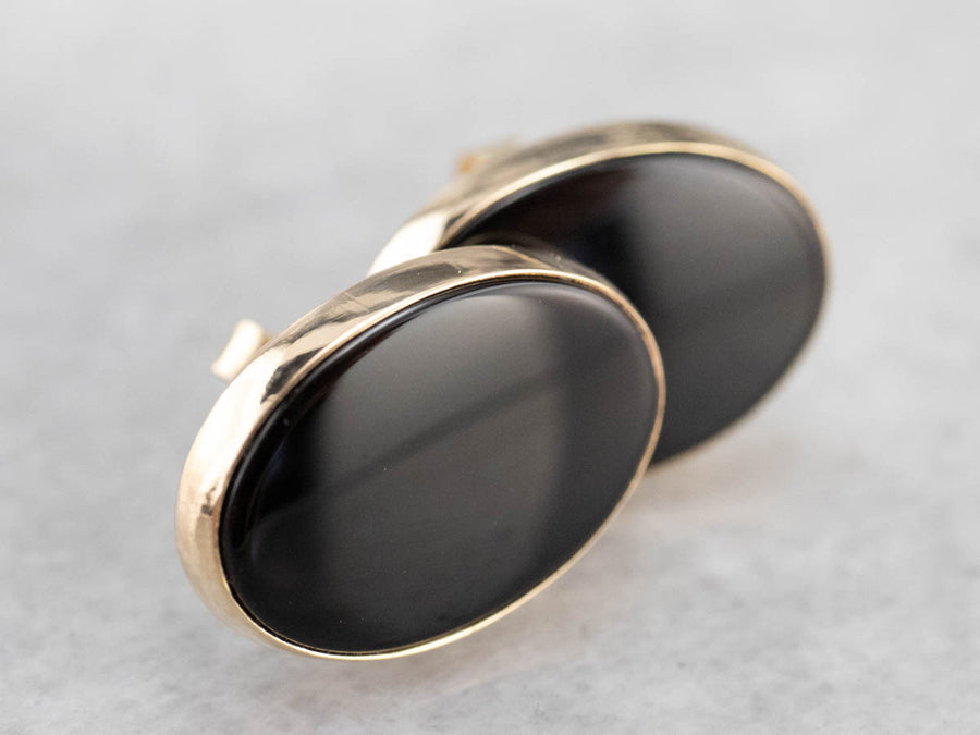 Bezel Set Oval Black Onyx Gold Stud Earrings