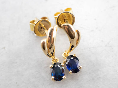 Sweeping Sapphire 18K Gold Drop Earrings