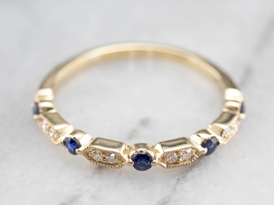 Yellow Gold Sapphire and Diamond Band