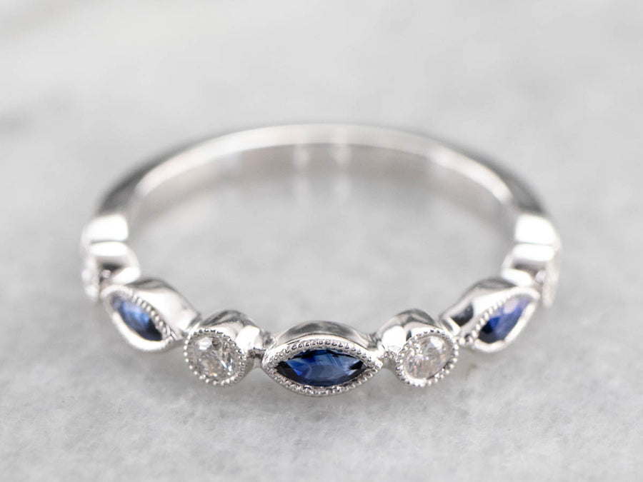 Marquise Sapphire and Diamond Band