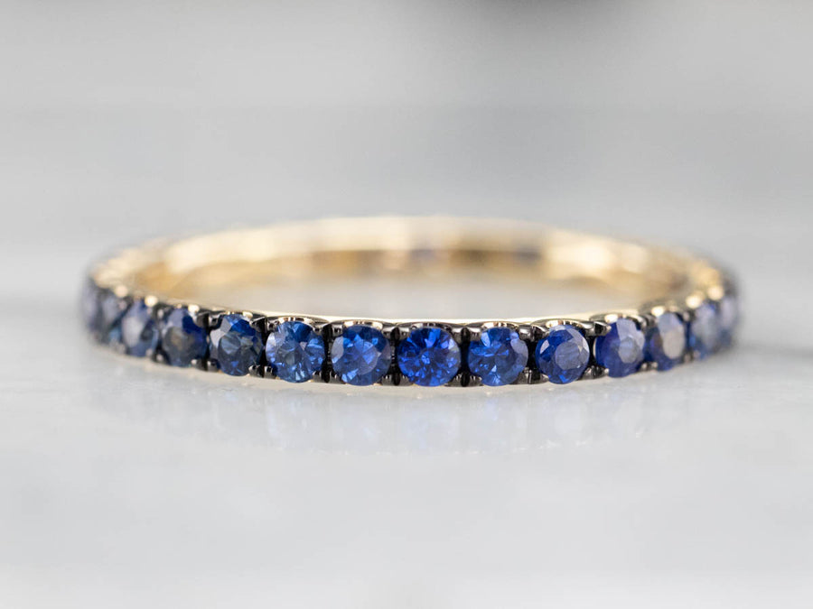 Yellow Gold Sapphire Eternity Band