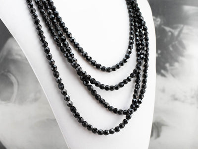 Black Glass Opera Length Beaded Necklace