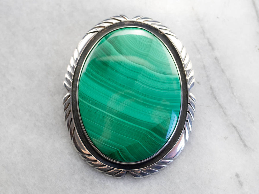Sterling Silver Malachite Brooch or Pendant
