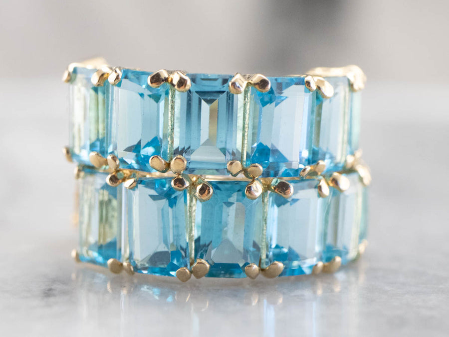 Gold Blue Topaz Hoop Earrings