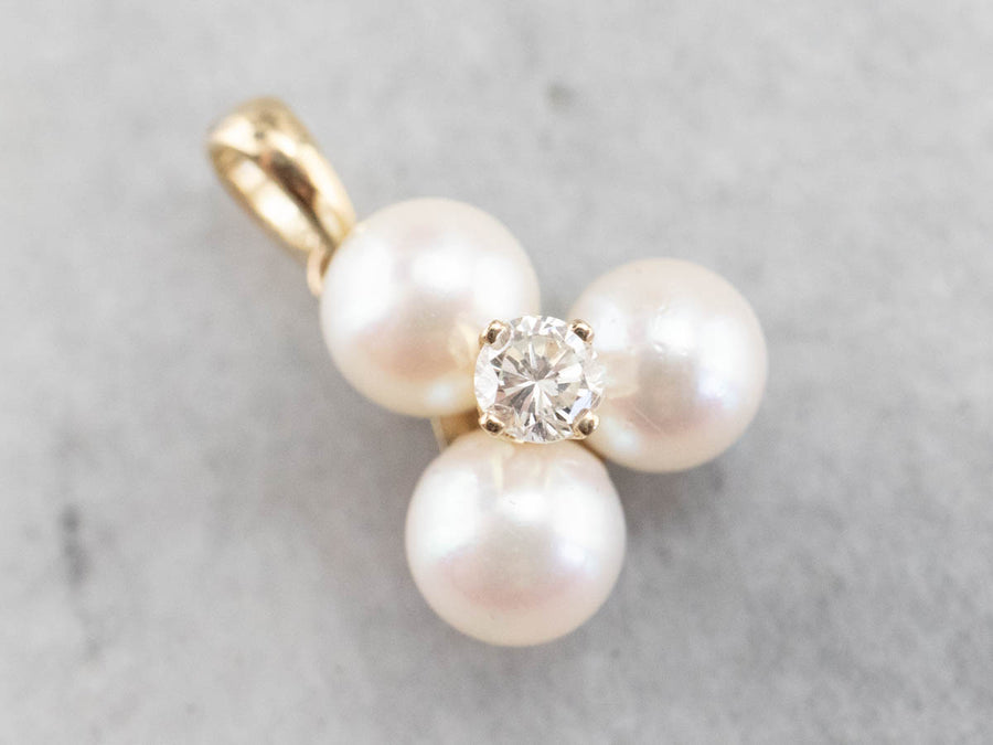 Gold White Pearl and Diamond Pendant