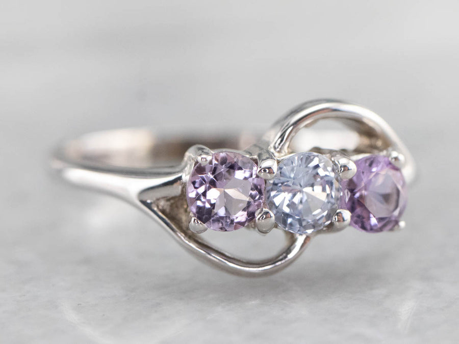White Sapphire Amethyst Sterling Silver Ring