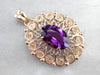 Ornate Amethyst Gold Filigree Statement Pendant