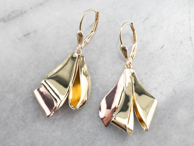 Two Tone Gold Ribbon Drop Earrings
