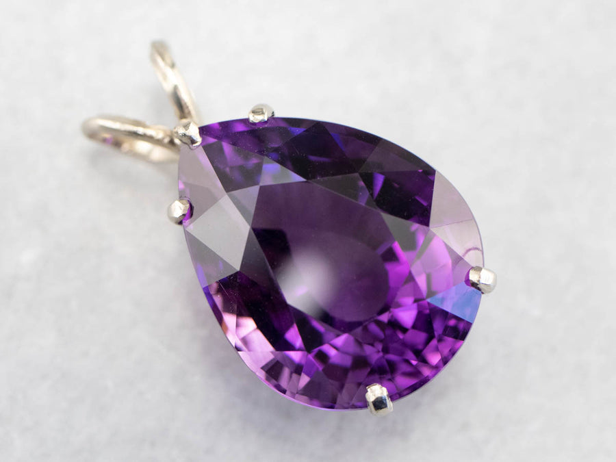 Pear Cut Amethyst White Gold Statement Pendant