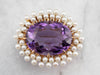 Antique Amethyst Seed Pearl Halo Gold Brooch