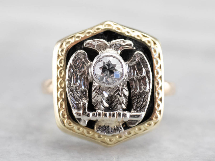 Antique Old Mine Cut Diamond Masonic Ring