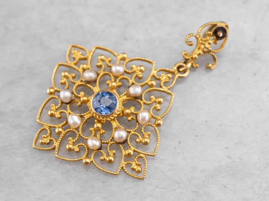 Sapphire and Seed Pearl Filigree Pendant