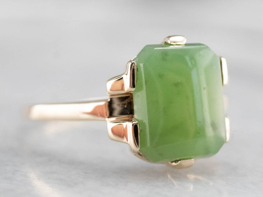 Vintage 1930s Jade Solitaire Ring