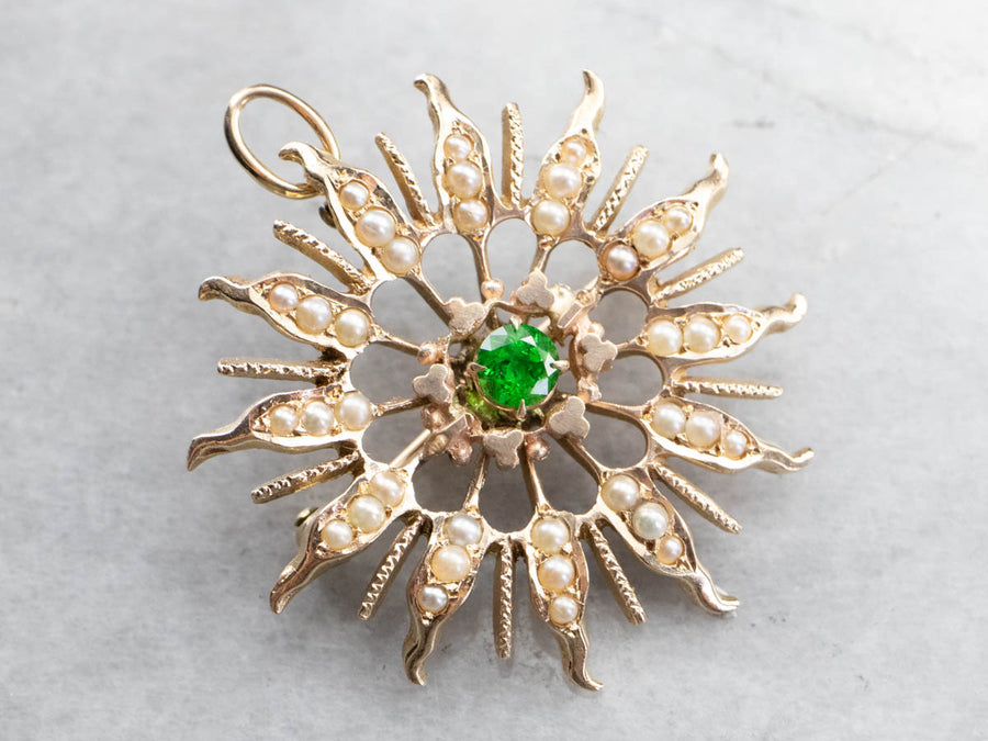 Antique Demantoid Garnet and Seed Pearl Brooch