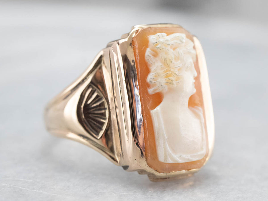 Unisex Gold Retro Era Cameo Ring
