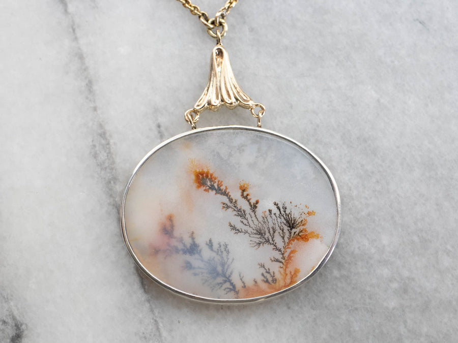 Dendritic Agate Pendant Necklace