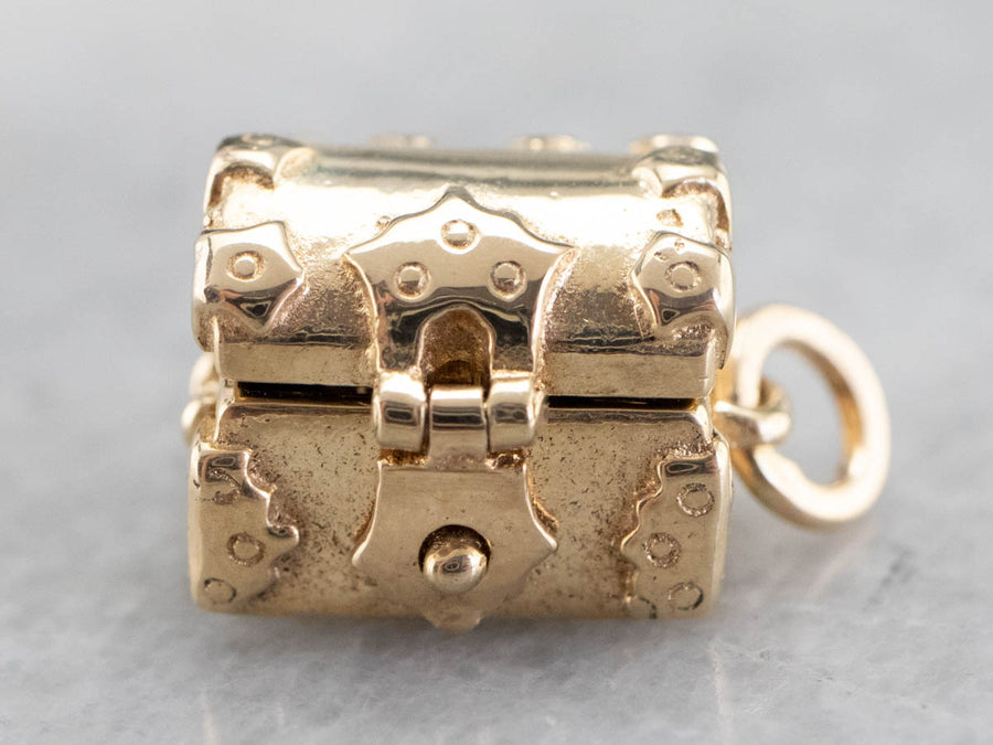 Demantoid Garnet Golden Treasure Chest Charm