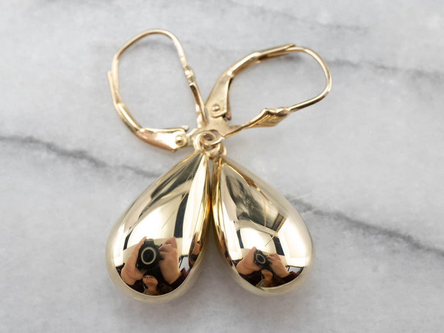 Yellow Gold Teardrop Dangle Earrings