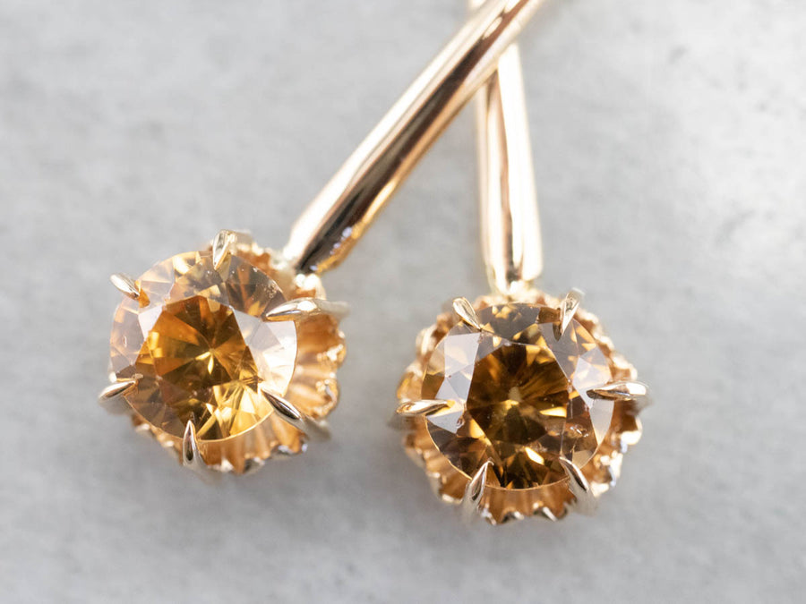 Yellow Zircon Gold Drop Earrings