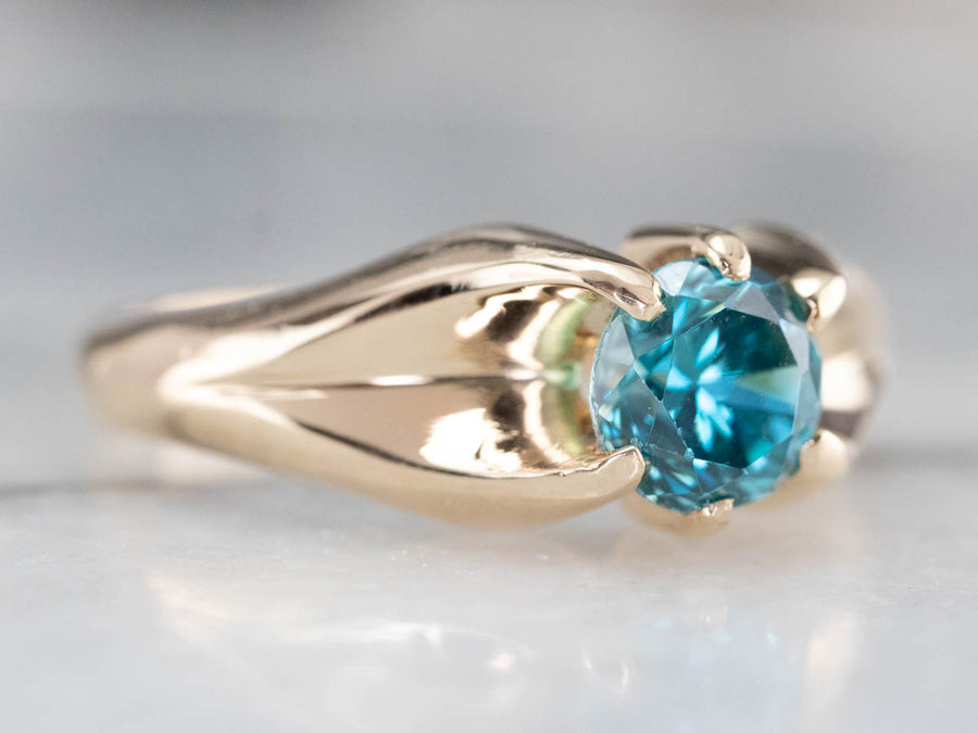 Vintage Blue Zircon Belcher Ring