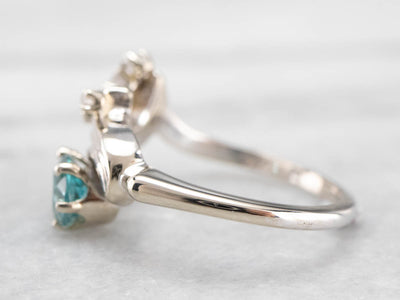 Whimsical Blue Zircon and Diamond Ring