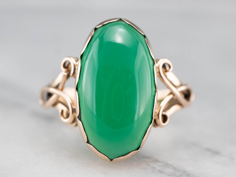Antique Rose Gold Green Onyx Ring