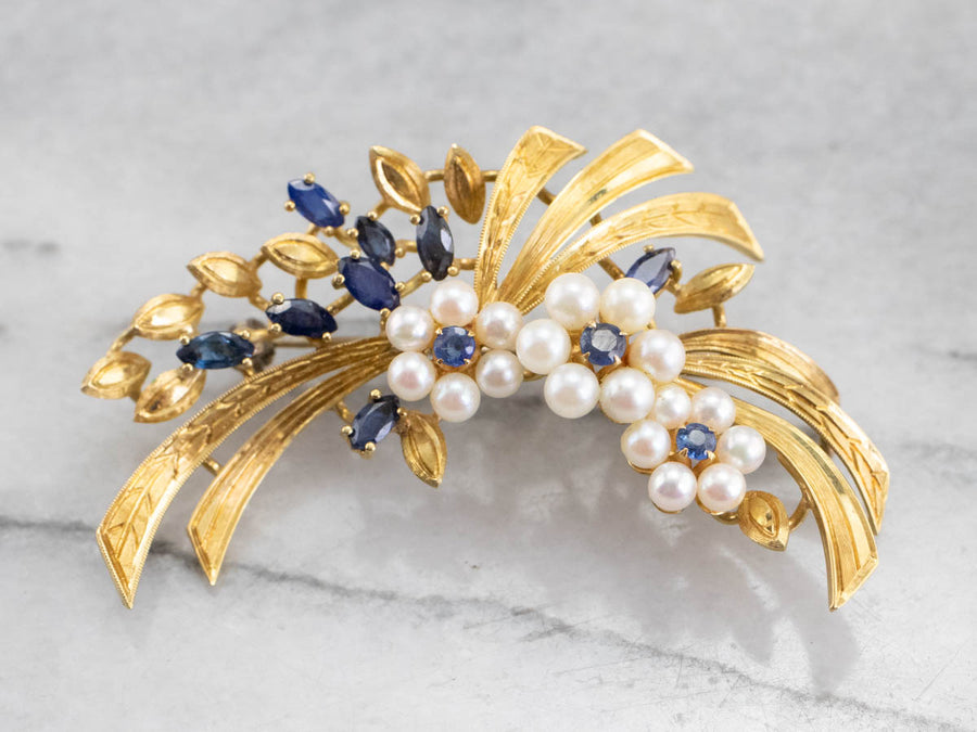 Vintage Gold Marquise Sapphire and Pearl Brooch