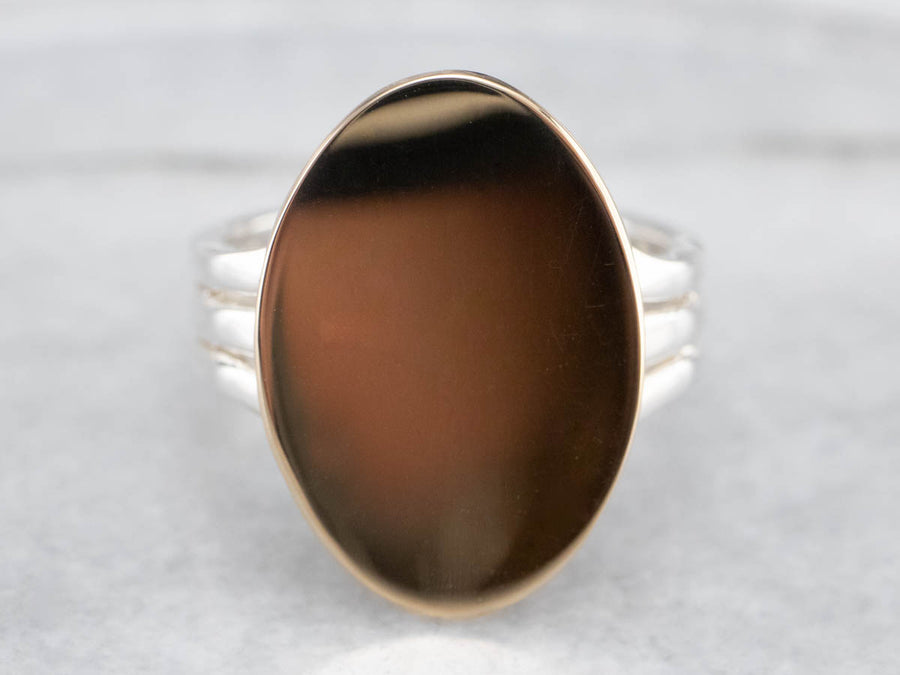 Mixed Metal Unisex Signet Ring