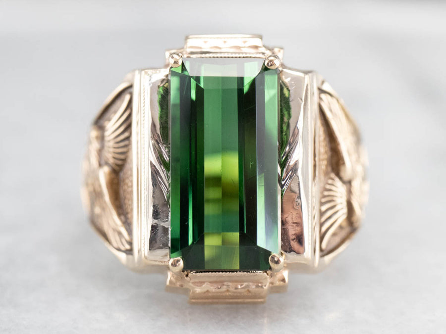 Green Tourmaline Gold Eagle Men's Ring