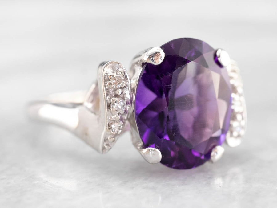 Amethyst Diamond White Gold Statement Ring