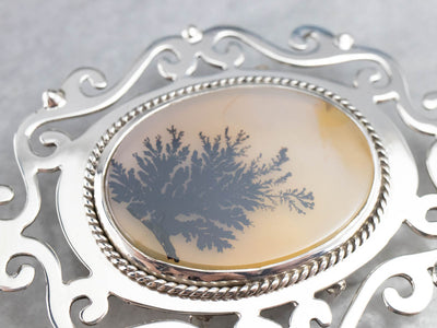 Dendritic Agate Sterling Silver Belt Buckle