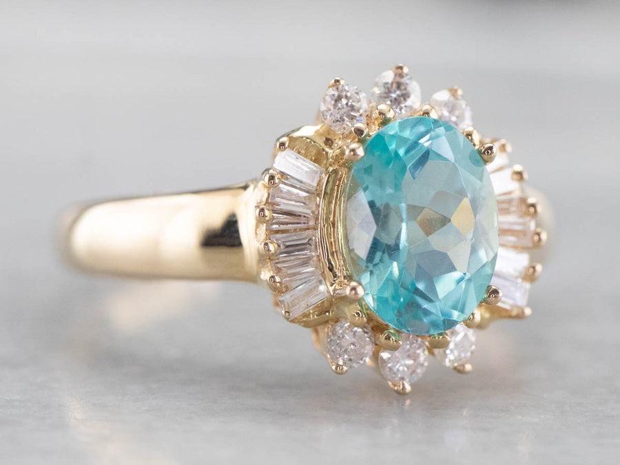 Ocean Blue Zircon and Diamond Ring
