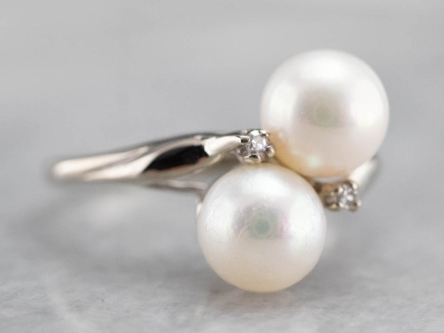 Vintage Pearl and Diamond Bypass Ring