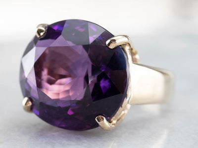 East to West Amethyst Gold Cocktail Ring
