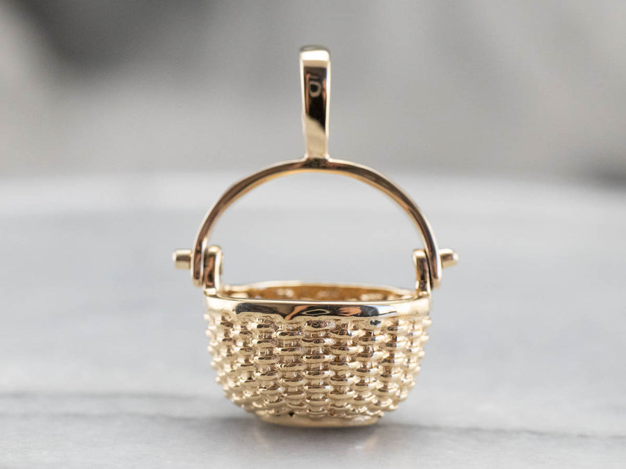 Vintage Gold Nantucket Basket Charm